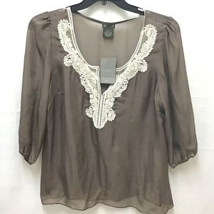 Anthropologie Fei Sheer Brown Shirt w Crochet, L